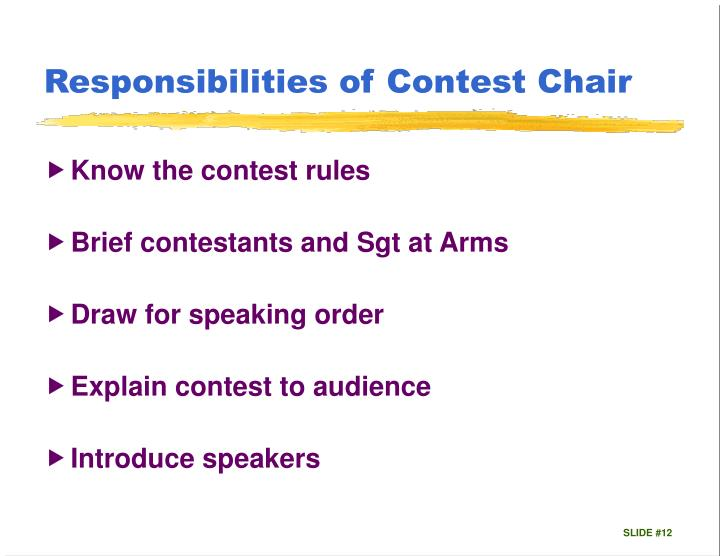 Responsibilities of Contest Chair