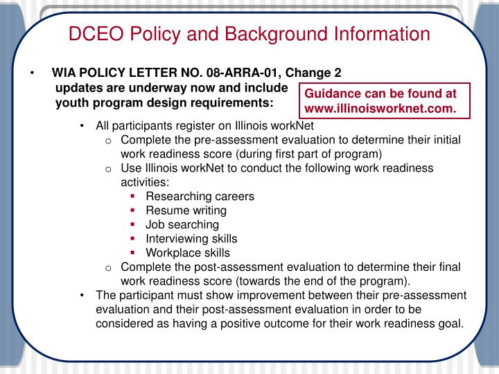 Dceo policy and background information