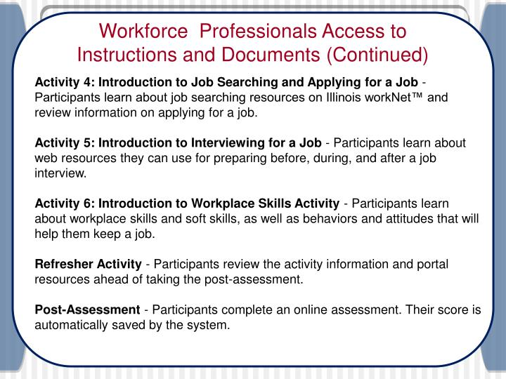 Workforce  Professionals Access to