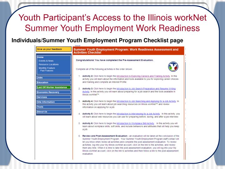 Youth Participant's Access to the Illinois workNet Summer Youth Employment Work Readiness