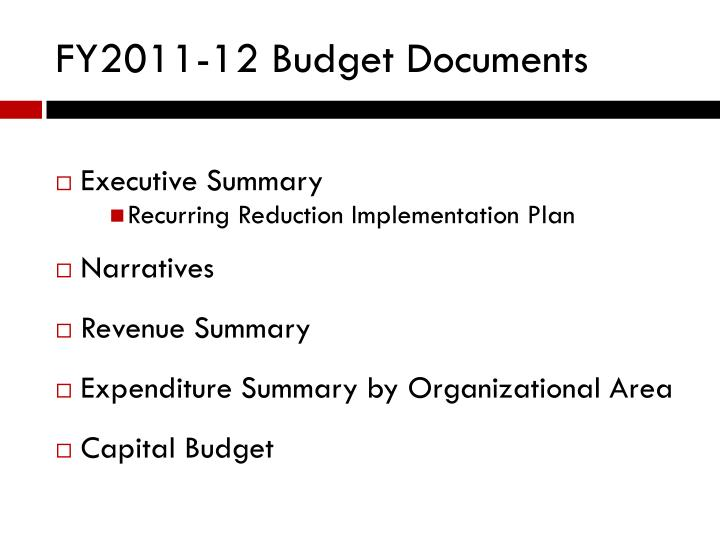 FY2011-12 Budget Documents