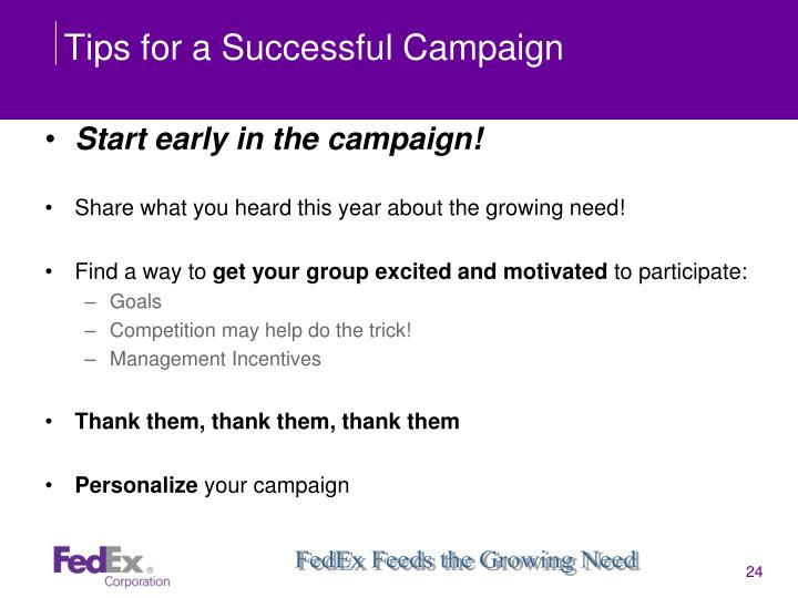 Tips for a Successful Campaign
