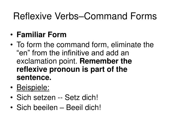 Reflexive Verbs–Command Forms