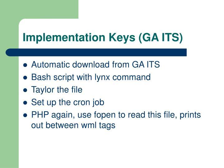 Implementation Keys (GA ITS)