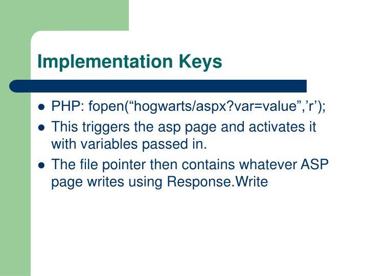 Implementation Keys