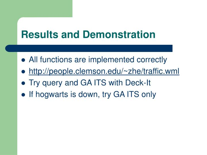 Results and Demonstration