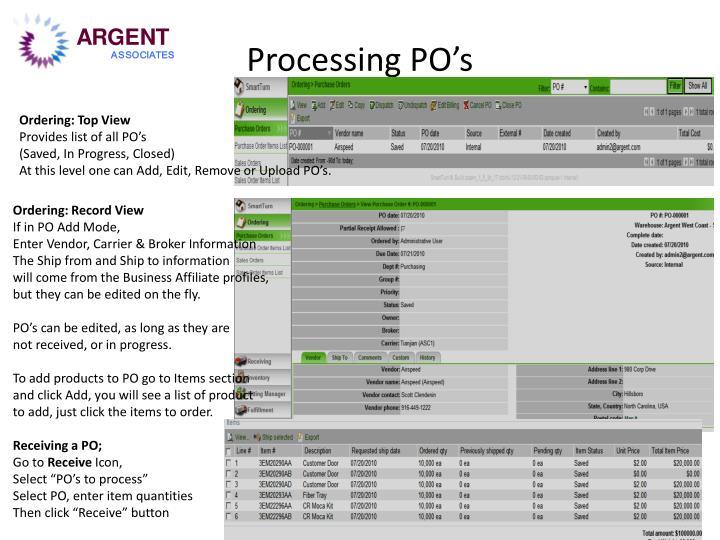 Processing PO's