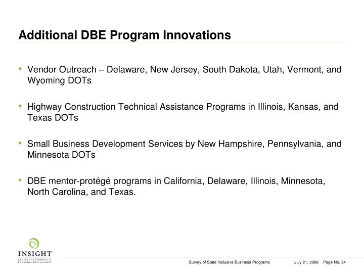 Additional DBE Program Innovations