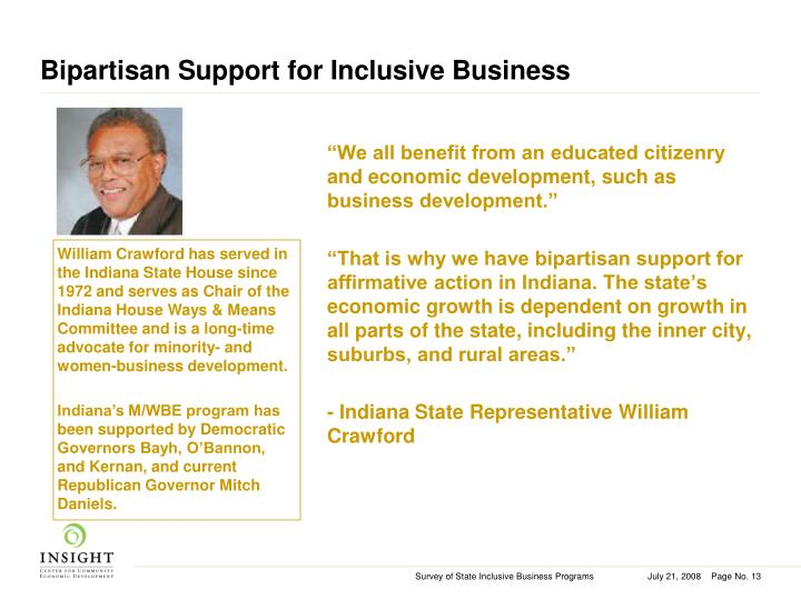 Bipartisan Support for Inclusive Business