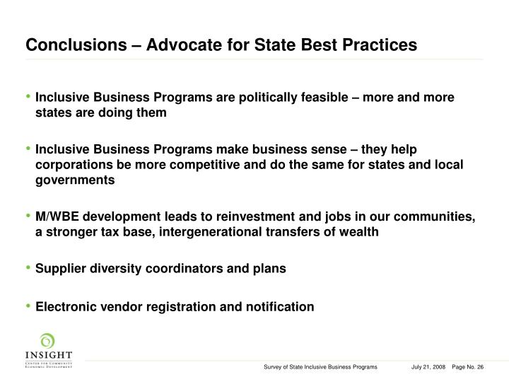Conclusions – Advocate for State Best Practices