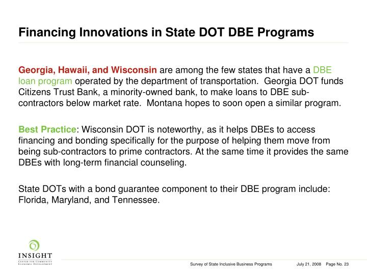 Financing Innovations in State DOT DBE Programs