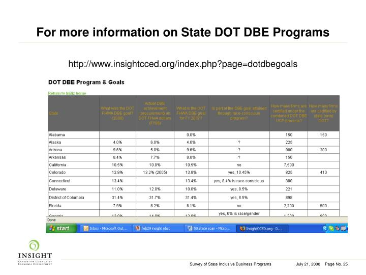 For more information on State DOT DBE Programs