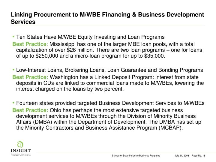Linking Procurement to M/WBE Financing & Business Development Services