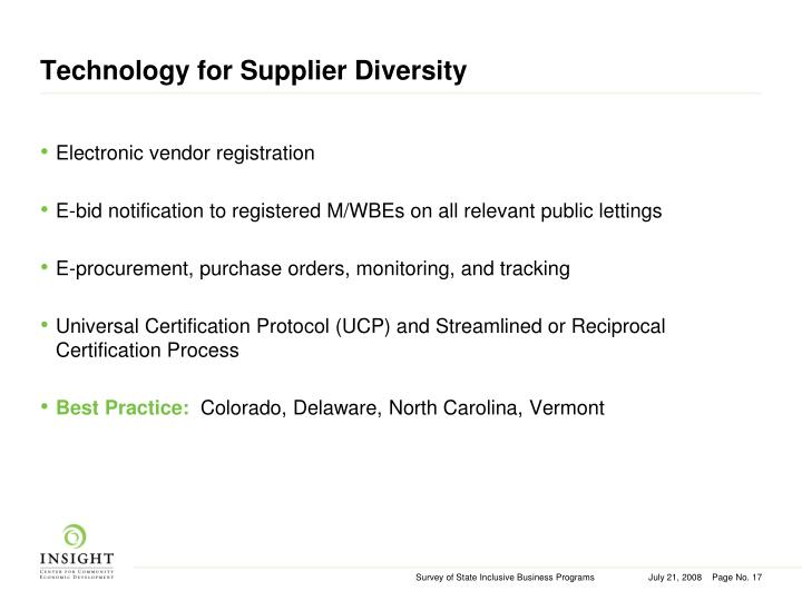 Technology for Supplier Diversity
