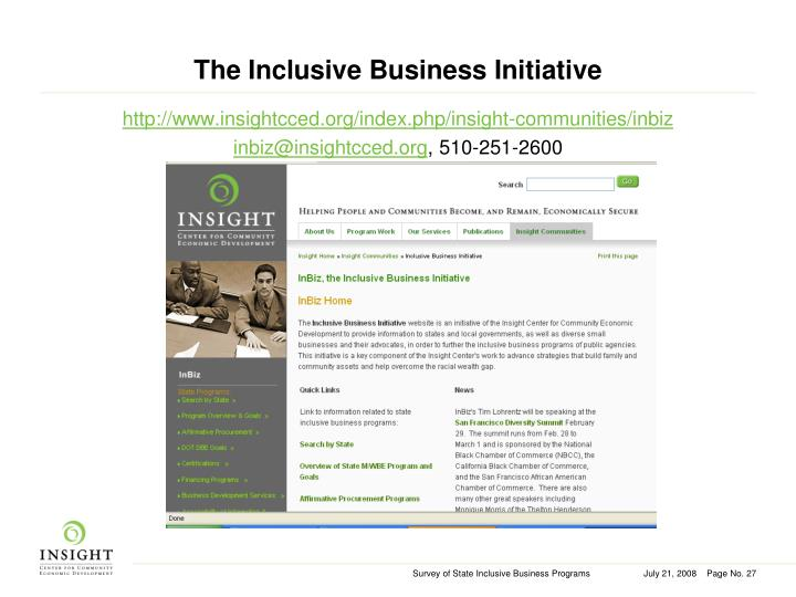 The Inclusive Business Initiative