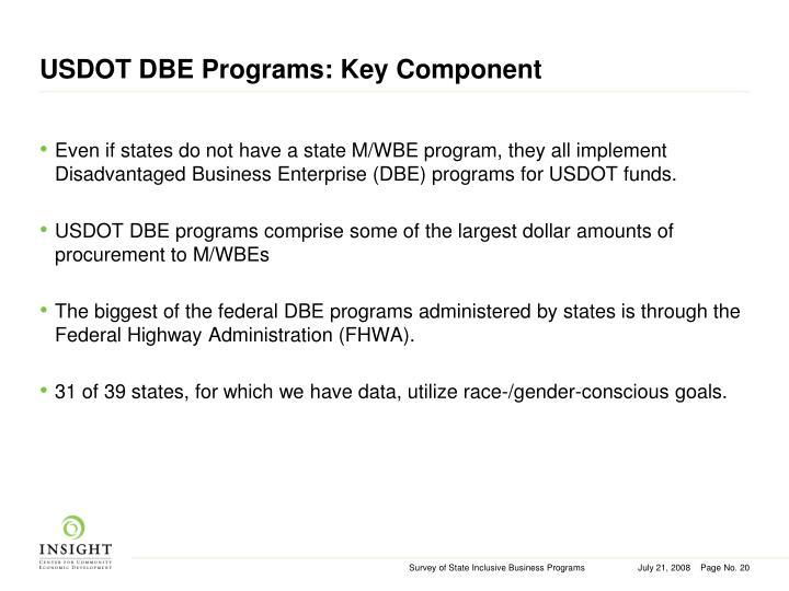 USDOT DBE Programs: Key Component