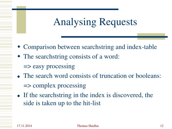 Analysing Requests
