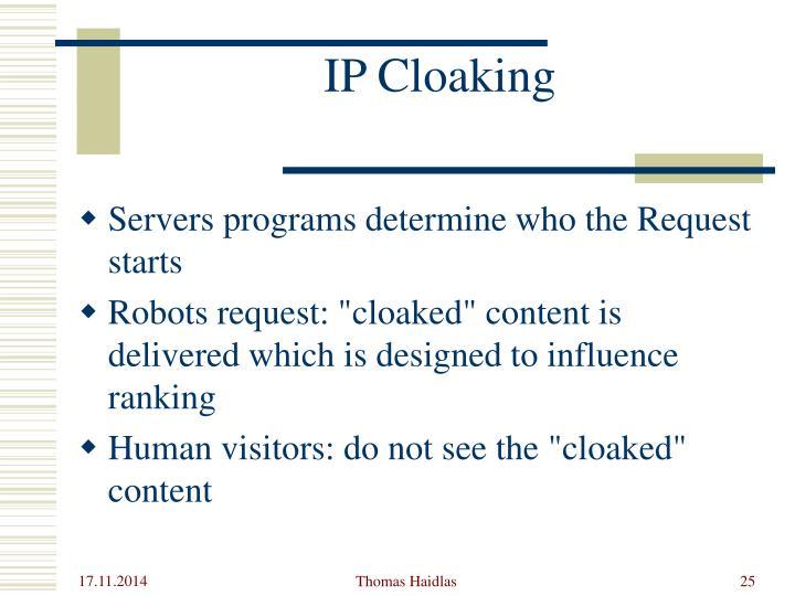IP Cloaking