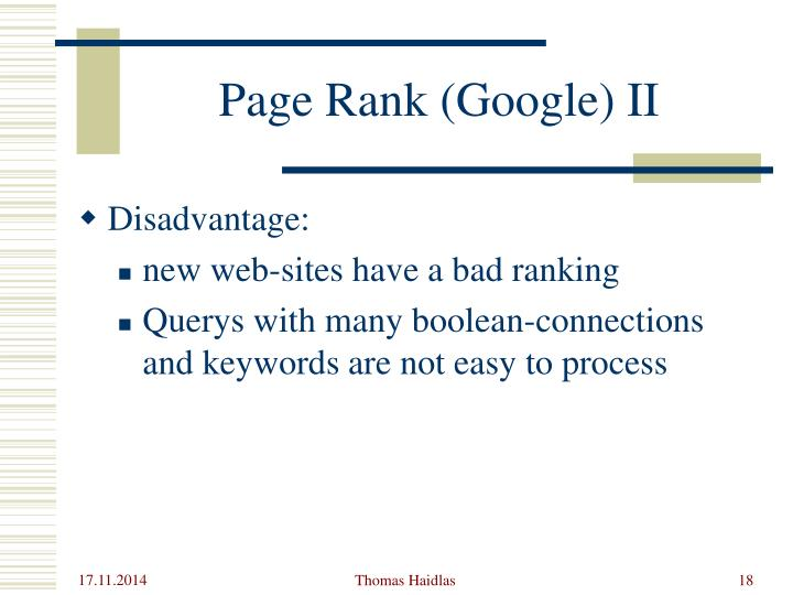 Page Rank (Google) II