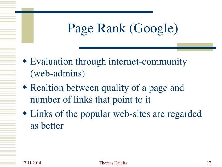 Page Rank (Google)