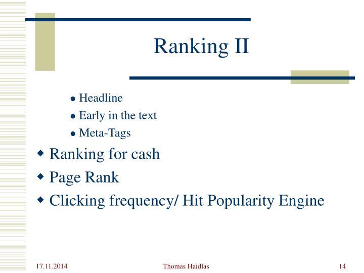 Ranking II