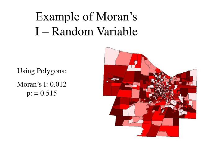 Example of Moran's I – Random Variable