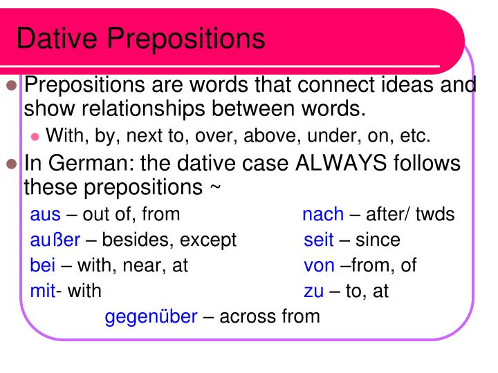 Dative Prepositions
