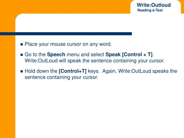 Place your mouse cursor on any word.