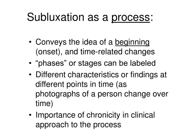 Subluxation as a