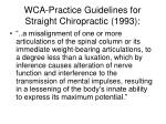 wca practice guidelines for straight chiropractic 1993