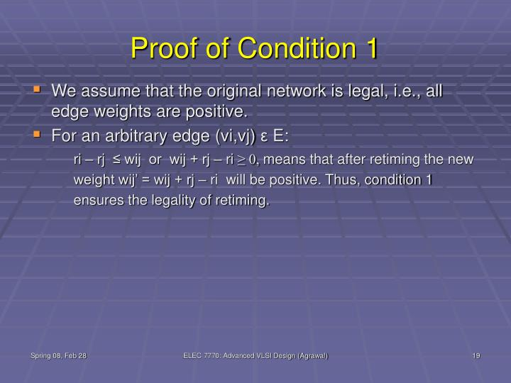 Proof of Condition 1