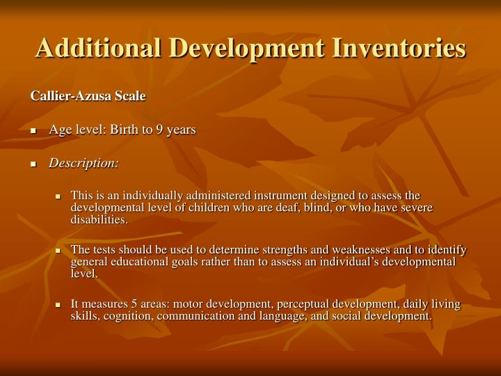 Additional Development Inventories