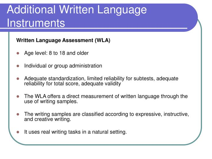 Additional Written Language Instruments