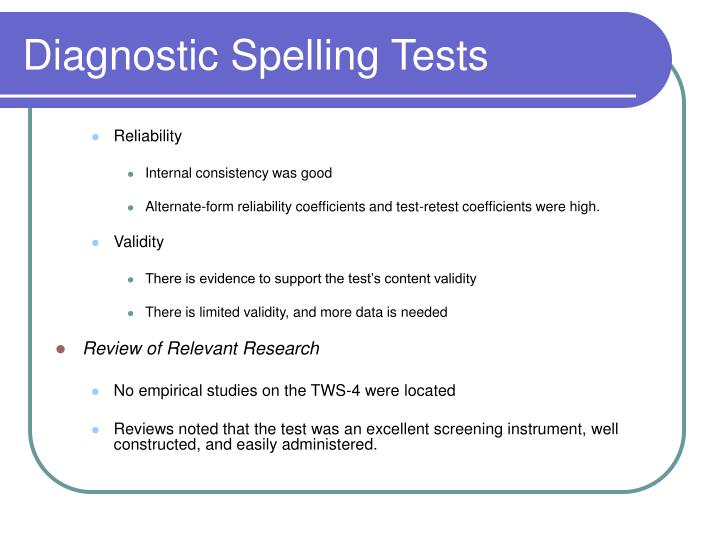 Diagnostic Spelling Tests