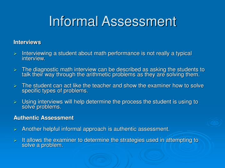 Informal Assessment