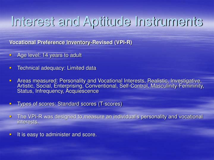 Interest and Aptitude Instruments