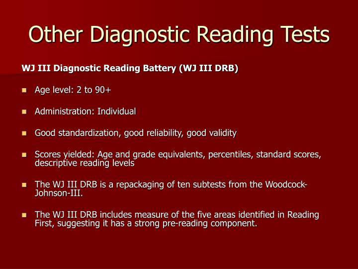 Other Diagnostic Reading Tests