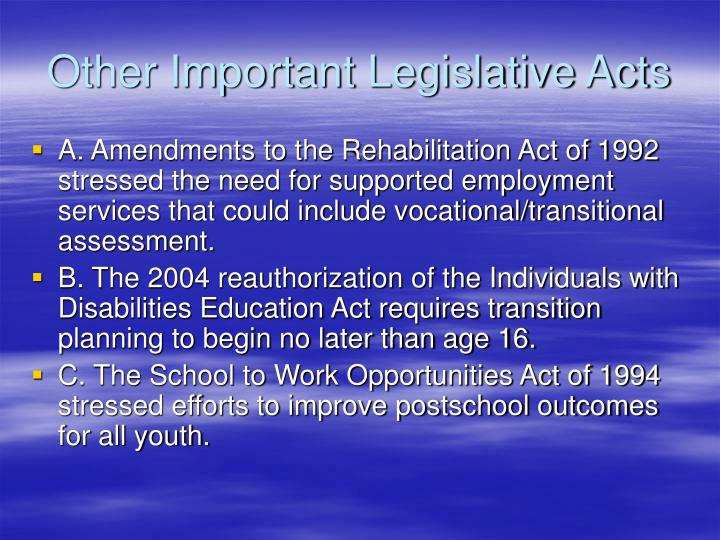 Other Important Legislative Acts