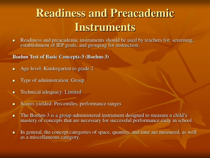 Readiness and Preacademic Instruments