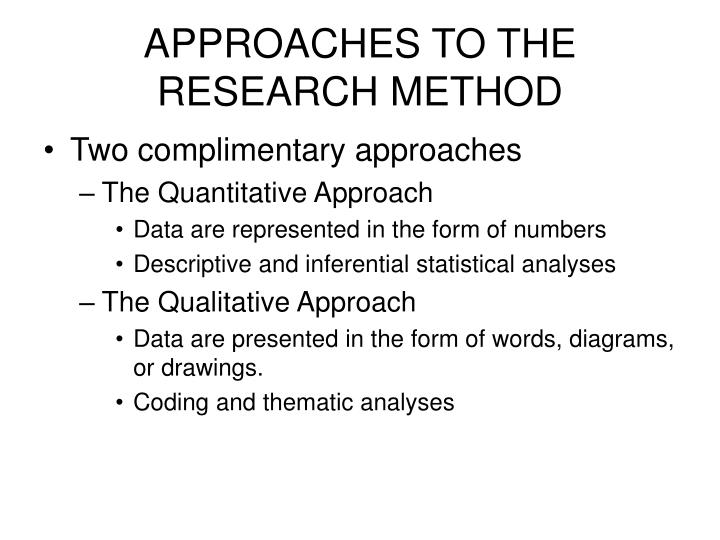 APPROACHES TO THE RESEARCH METHOD