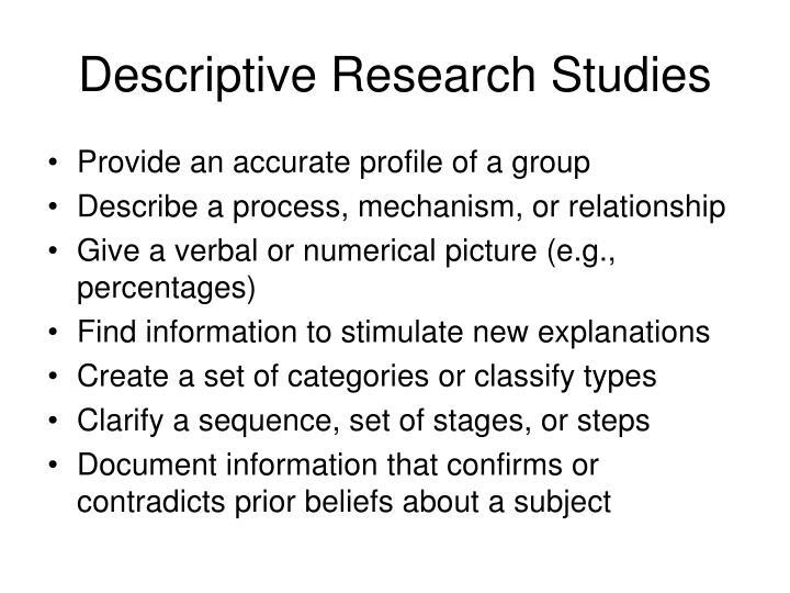 Descriptive Research Studies
