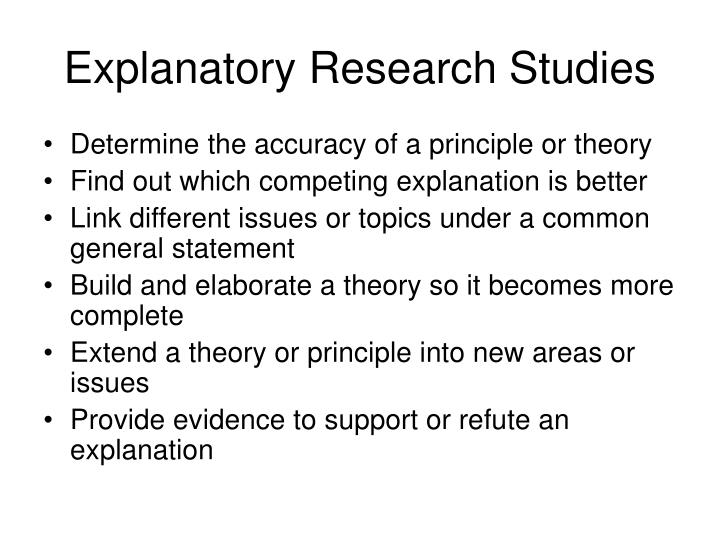 Explanatory Research Studies