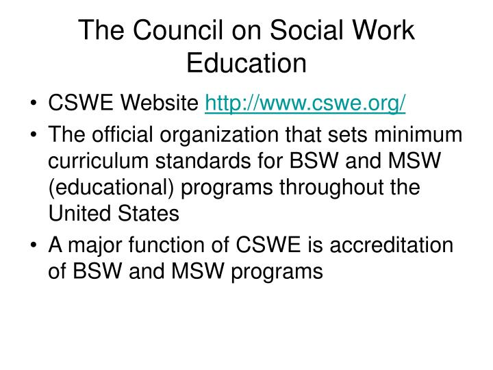 The Council on Social Work Education