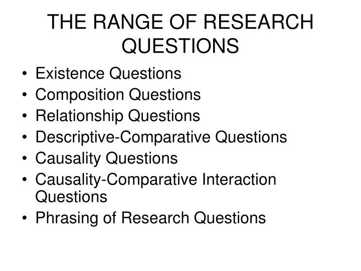 THE RANGE OF RESEARCH QUESTIONS