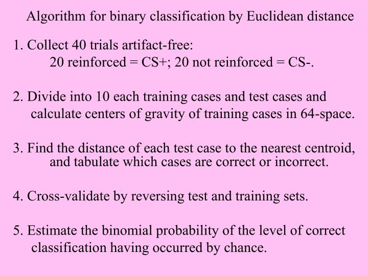 Algorithm for binary classification by Euclidean distance