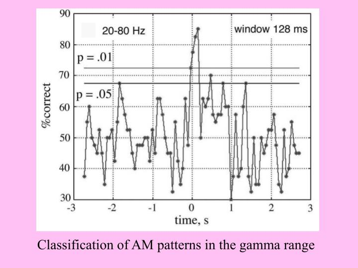 Classification of AM patterns in the gamma range