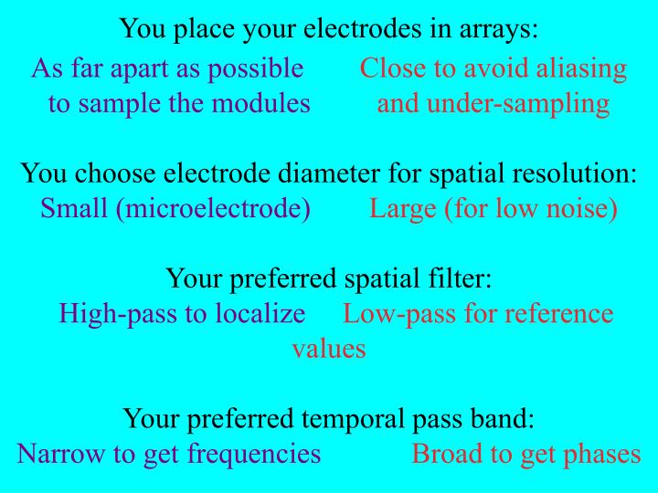 You place your electrodes in arrays: