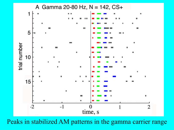 Peaks in stabilized AM patterns in the gamma carrier range