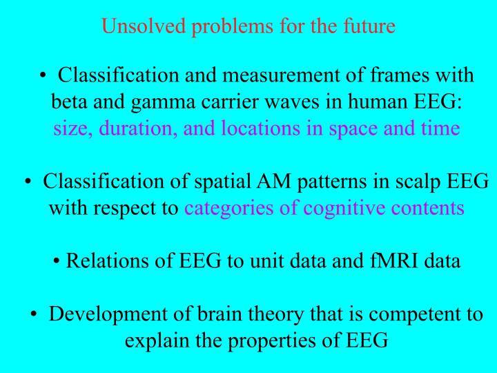 Unsolved problems for the future