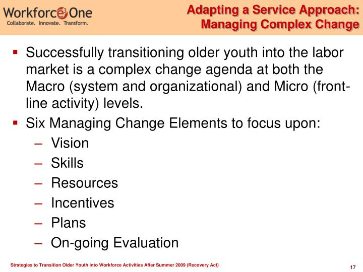 Adapting a Service Approach:
